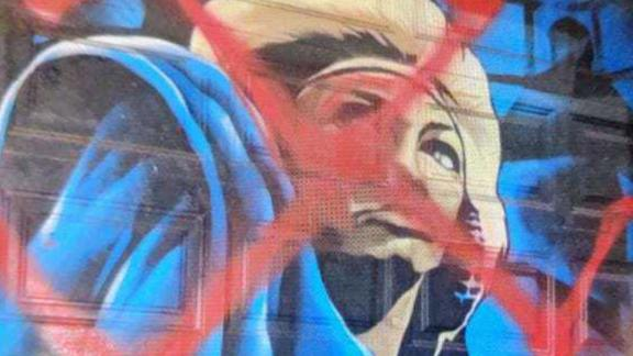 A mural of Tina Turner in Asheville, North Carolina, was defaced with an incorrectly drawn swastika.