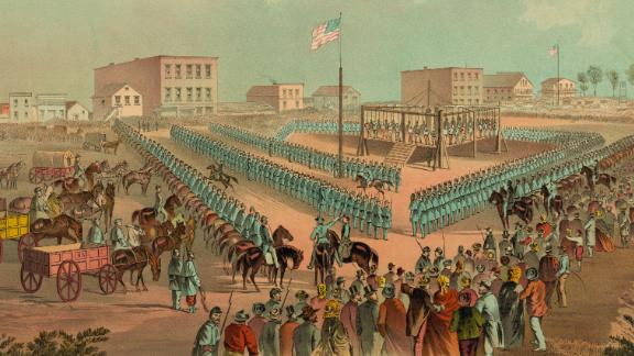 A lithograph from 1883 depicting the execution of the 38 Dakota Indians at Mankato, Minnesota, December 26, 1862.