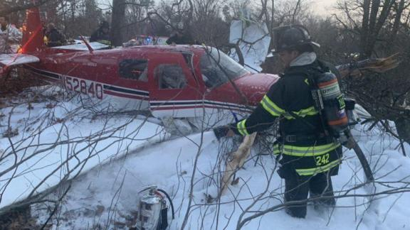A small plane crashed in East Farmingdale, Long Island, Saturday, December 28, 2019.