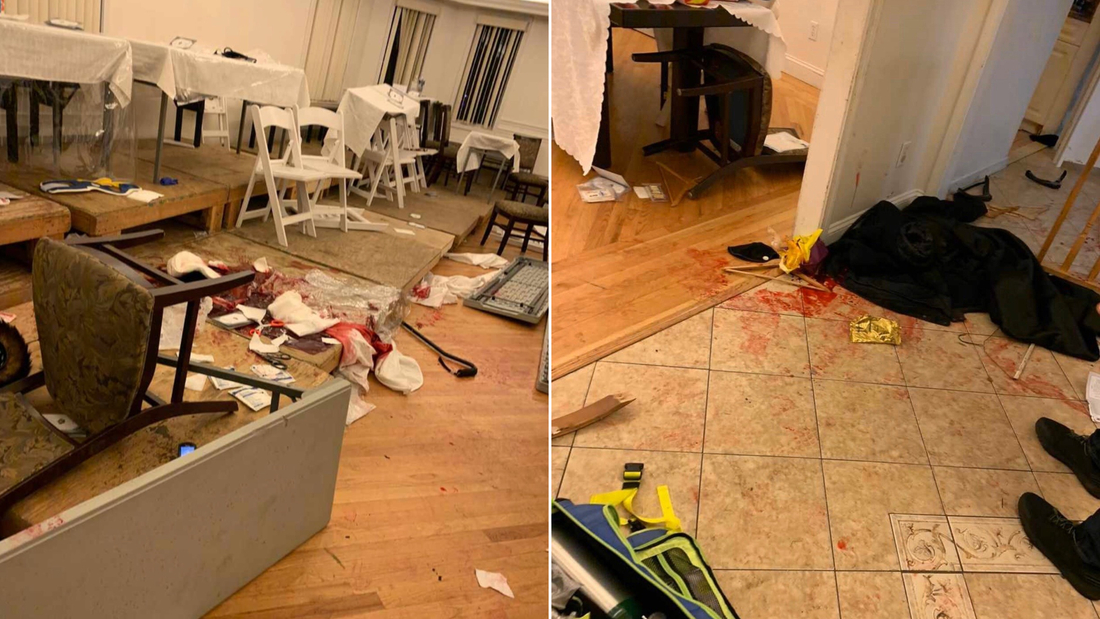 One photo from the scene shows overturned chairs and a cane left behind. Another photo shows black clothing on the floor and a medical kit.