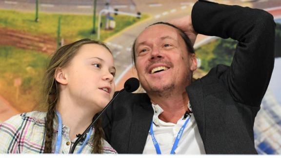 Greta Thunberg and her father Svante attend a press conference during the COP24 summit on climate change in Katowice, Poland on December 4, 2018.