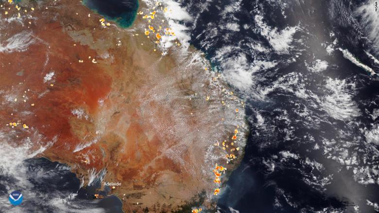 A satellite image of the bushfires burning across Australia on December 26.