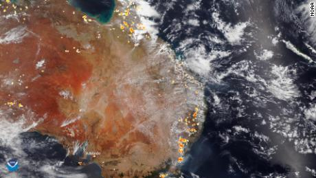 A satellite image of the bushfires burning across Australia on December 26.