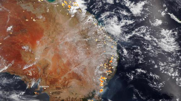 The National Oceanic and Atmospheric Administration (NOAA) captured this satellite image of the historic bushfires burning across Australia on December 26.