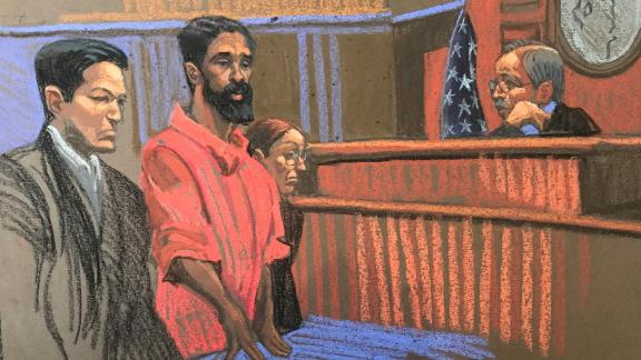 A sketch shows suspect Grafton Thomas in federal court Monday.