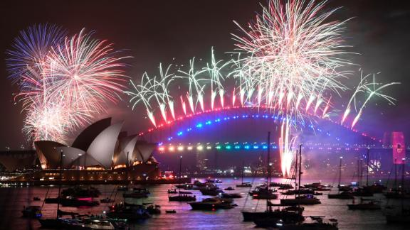 New Year's Eve fireworks erupt over Sydney's iconic Harbour Bridge and Opera House.