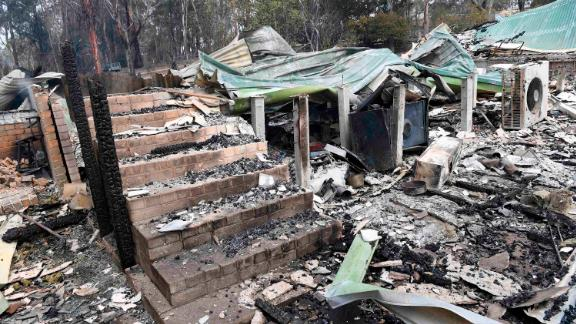 A destroyed home in Sarsfield, East Gippsland, Victoria, on December 31.