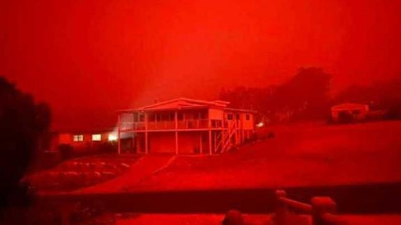 Jason Selmes has evacuated his house in Mallacoota, Victoria, Australia, to the beachfront of the town. He told CNN it is 10am local time on Tuesday and it