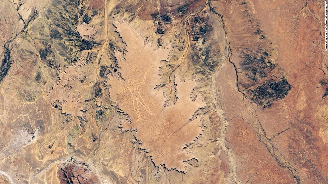 NASA satellite shares a new image of Marree Man, an Australian carving that has puzzled scientists for decades