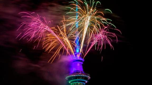 Fireworks are set off from the Sky Tower in Auckland, New Zealand.