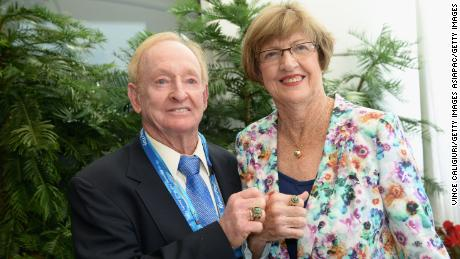 Court with former Australian tennis player Rod Laver.