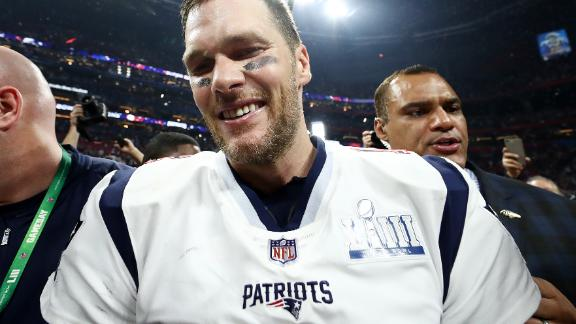Tom Brady of the New England Patriots celebrate the teams 13-3 win over the Los Angeles Rams at Super Bowl LIII in Atlanta in February 2019.