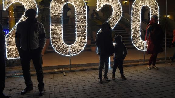 People celebrate the new year in Islamabad, Pakistan.