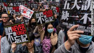 Pro-democracy supporters hold placards during a New Years Day rally.