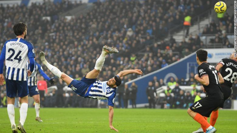Alireza Jahanbakhsh equalized for Brighton in the 1-1 draw with Chelsea with a sensational overhead kick late in the game at the Amex Stadium.