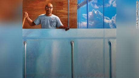 "Clyde Huntley, subject of this painting by artist Mario Moore. Its title is ""Clyde sky high."""