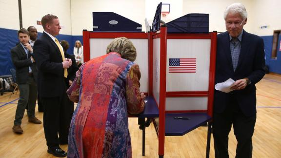 The Clintons vote at a school in Chappaqua, New York, in April 2016.