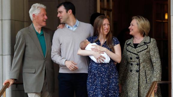 The Clintons, their daughter and their son-in-law leave a hospital in June 2016 after Chelsea gave birth to her first son, Aidan.