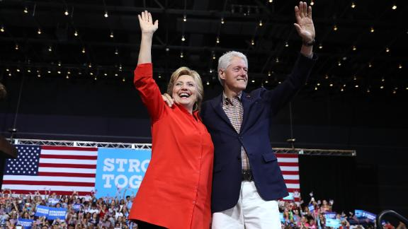 The Clintons greet supporters during a presidential campaign rally in Pittsburgh in July 2016.