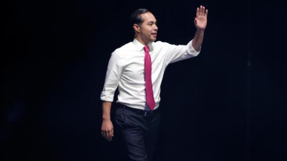 Castro arrives to speak in Des Moines in November 2019.