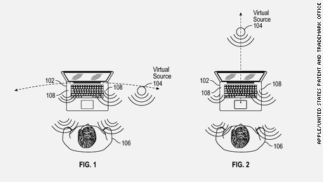 Apple envisions the virtual sound system will make audio appear to be away from the MacBook.