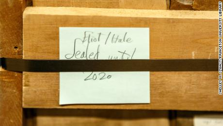 The crate pictured housed the collection for over 60 years and held a post-it note that read, 'Eliot/Hale, sealed until 2020.' Photo by Shelley Szwast, Princeton University Library
