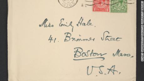 An envelope addressed in T.S. Eliot's handwriting to Emily Hale at her home in Boston