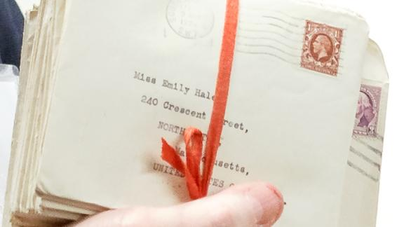 A bundle of letters included in the archive tied with a ribbon and addressed to Emily Hale