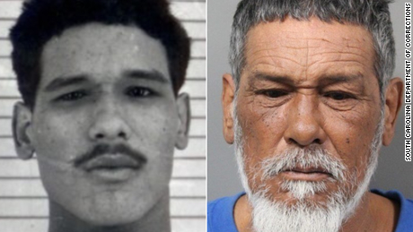 Jose Romero's booking photo from 1979, left, and 2020.
