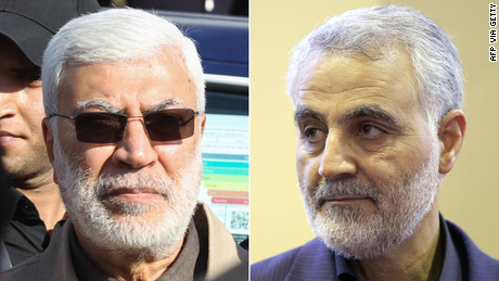 Abu Mahdi al-Muhandis, the deputy head of the Iran-backed Iraqi Popular Mobilization Forces (PMF), left, and Qasem Soleimani, the commander of Iran's Islamic Revolutionary Guards Corps (IRGC) Quds Force unit, right, were killed in the US strike.