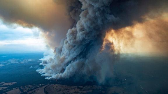 Massive smoke rises from wildfires burning in East Gippsland, Victoria on January 2.