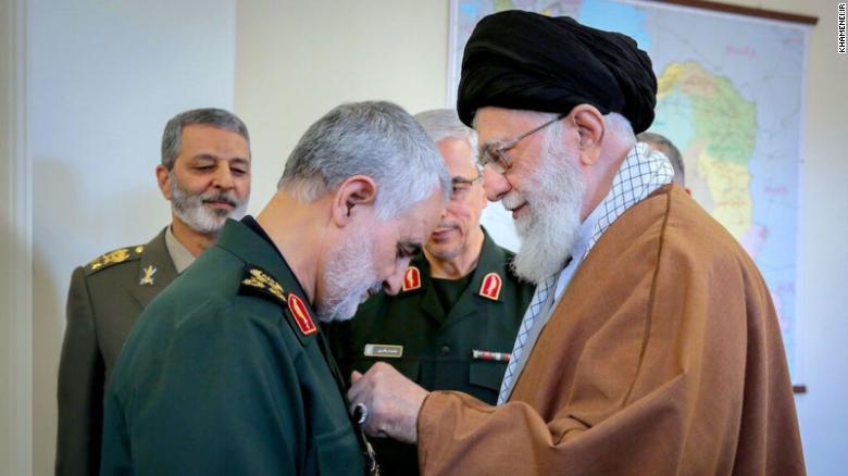 Iran's supreme leader Ayatollah Ali Khamenei with Qasem Soleimani.