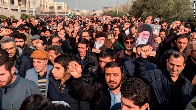 Protesters in Tehran demonstrate Friday against the airstrike in Iraq.