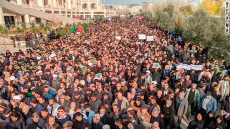 Protesters demonstrate in Tehran on Friday after the killing of Qasem Soleimani, the head of the Iranian Islamic Revolutionary Guards Corps (IRGC) Quds Force unit.