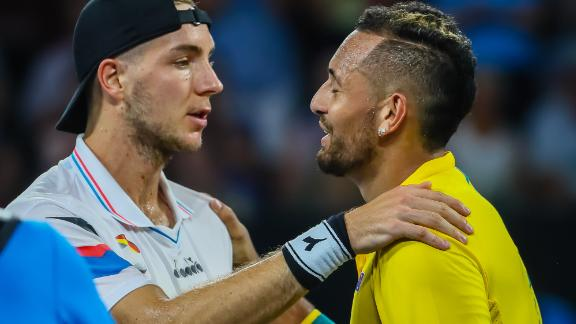 Kyrgios (right) defeated Jan-Lennard Struff in straight sets at the ATP Cup.