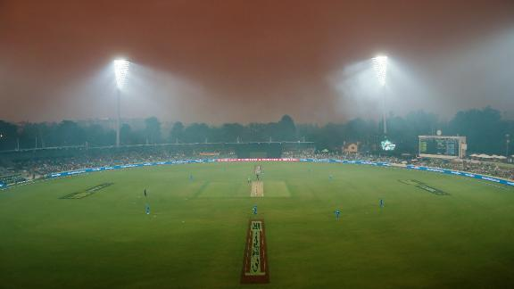 A smoke haze from bushfires hangs over a Big Bash League cricket match between the Sydney Thunder and the Adelaide Strikers on December 21.