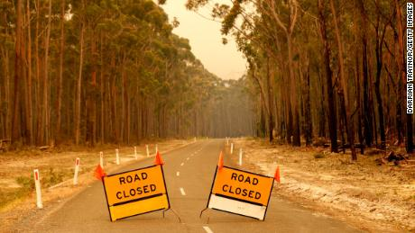 Roadblocks outside the town of Orbost in Victoria, Australia, on January 2, 2020.