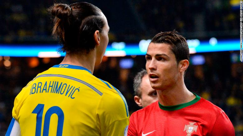 Ibrahimović and Ronaldo shake hands at the 2014 FIFA World Cup.