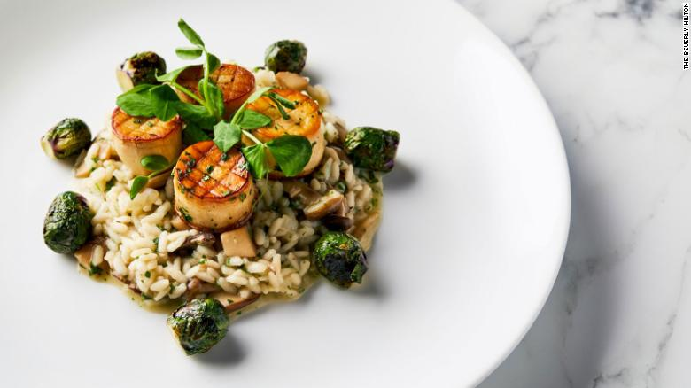 Golden Globes 2020 King oyster mushroom & scallops rest on a bed of risotto
