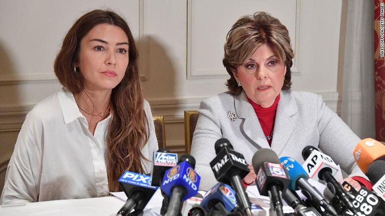Mimi Haleyi, left, and attorney Gloria Allred speak during a news conference in 2017 in New York.