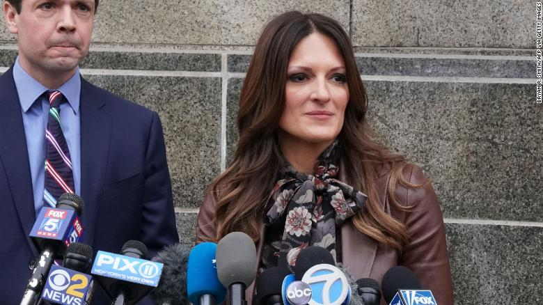 Lawyer Donna Rotunno, right, speaks outside Manhattan court in December.