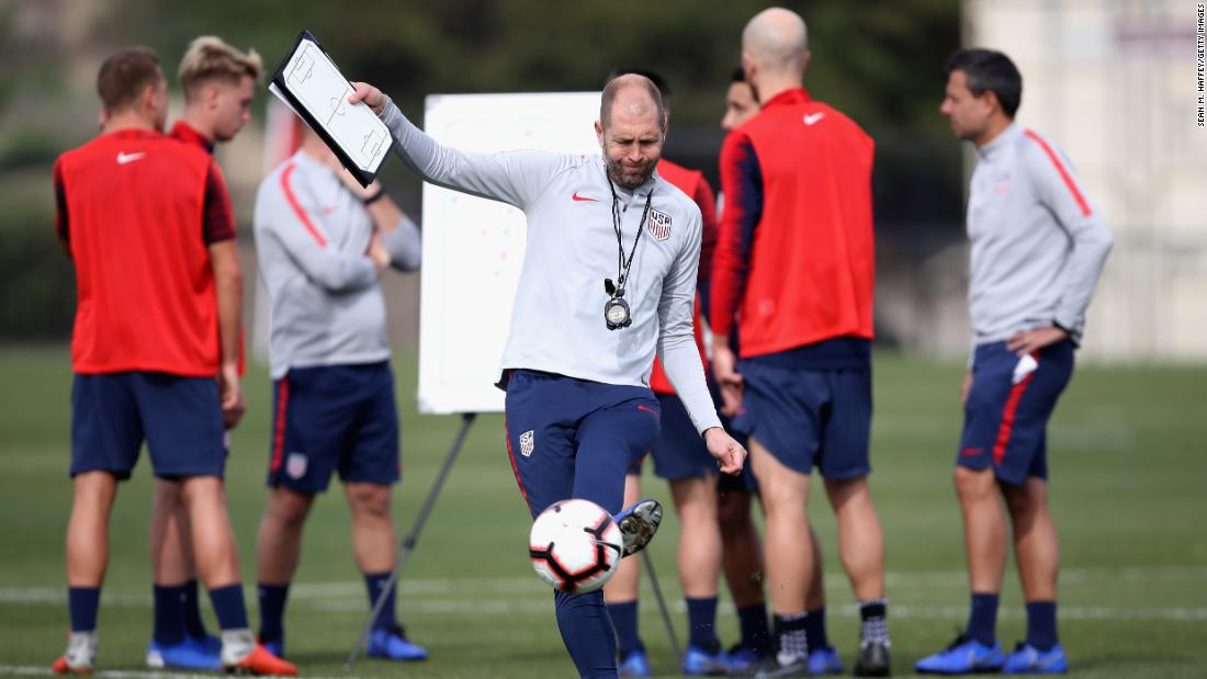 US head coach Gregg Berhalter overseas training in California in January 2019.