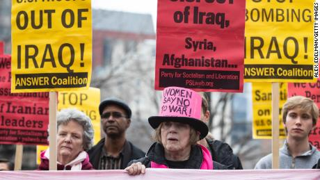 Demonstrators at an anti-war protest outside the White House on Saturday, January 4, 2020.
