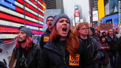 Anti-war protesters at Times Square in New York on January 4, 2020.