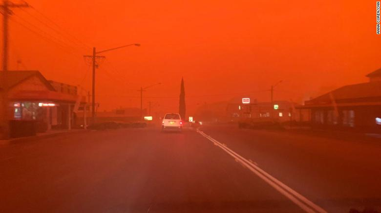 An eerie, smoke-filled landscape in Pambula, New South Wales, on January 5, 2020.