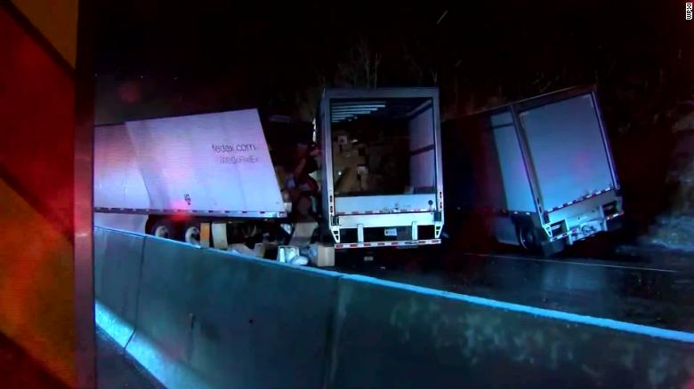 The crash shut down all lanes of the Pennsylvania Turnpike for dozens of miles.