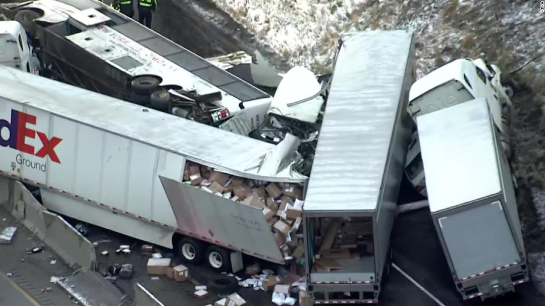 A pileup on the Pennsylvania Turnpike kills 5 people and injures about 60 others