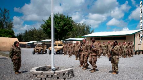 US Air Force airmen from the 475th Expeditionary Air Base Squadron conduct a flag-raising ceremony at Camp Simba, Kenya, on August 26, 2019.