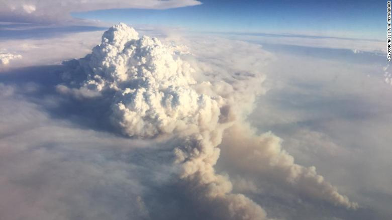 Fire-induced thunderstorms over New South Wales, seen from a flight on January 5, 2020.