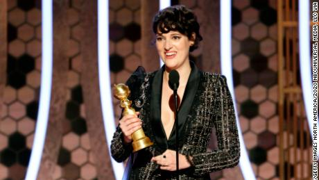 Phoebe Waller on stage at Sunday's Golden Globe Awards